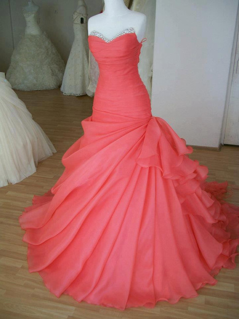 Gorgeous ball gown charming girl sweep train prom dress/evening dress