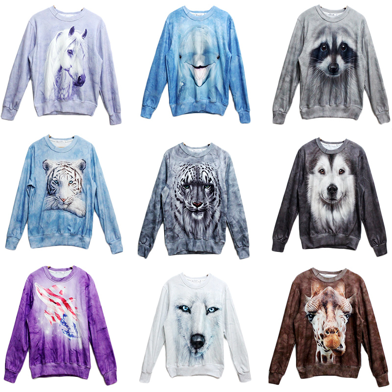 2013 Fashion women/men  print animal wolf/tiger 3D pullovers sweatshirts cat/lion/dog 3d hoodies sweaters top-inHoodies & Sweatshirts from Apparel & Accessories on Aliexpress.com