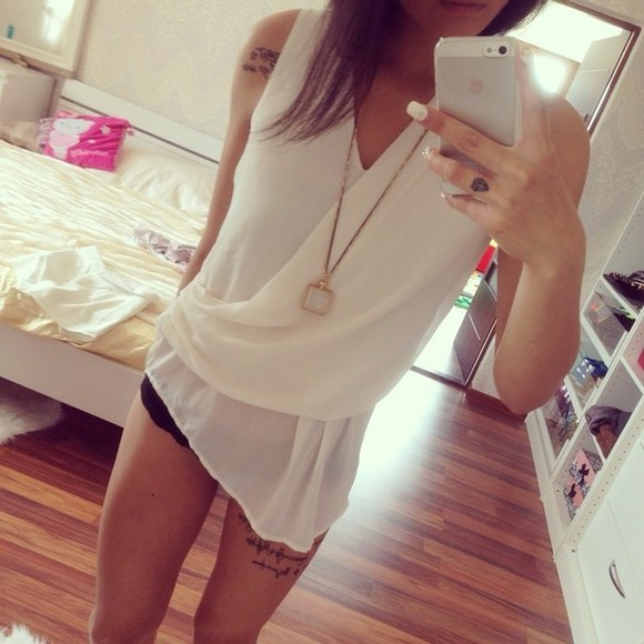 white asymmetrical blouse v-neck top elegant
