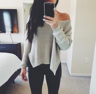 sweater grey fancy grey sweater designer fashion