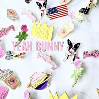 home accessory yeah bunny pins pin science frenchie dog queen rose accessories