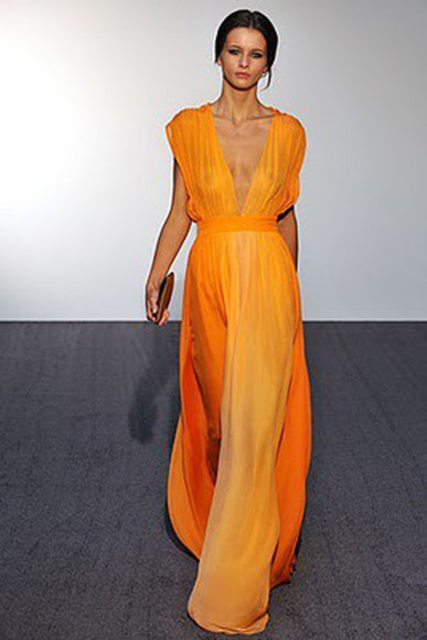 dress orange dress ombre dress