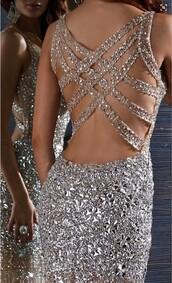 dress,rhinestones dress,prom dress,criss cross back,sexy dress,open back dresses,champagne dress