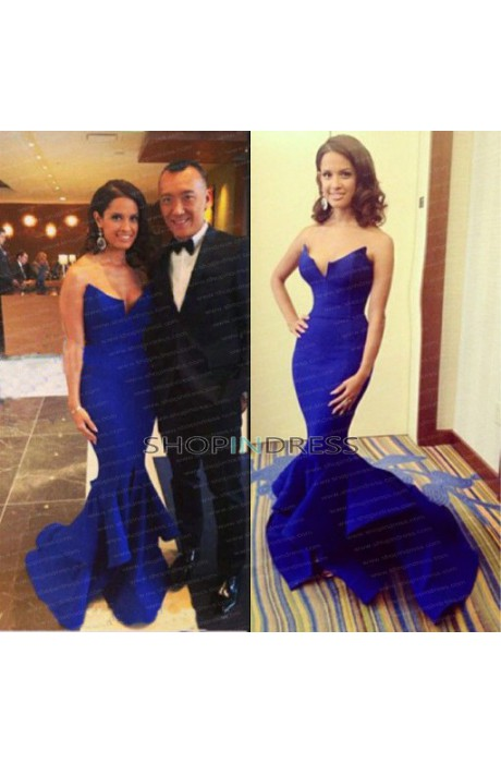 Mermaid/trumpet sweetheart floor length satin royal blue evening dress with ruffles npd098050 sale at shopindress.com