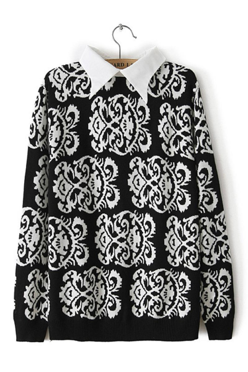 Autumn & Winter New Section Lapel Totem Sweater,Cheap in Wendybox.com
