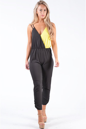 Ladies Modis Contrast Strappy Jumpsuit  In Black & Yellow at Pop Couture UK