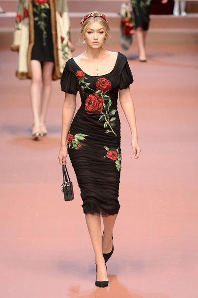 dress gigi hadid fashion week 2015 midi dress bodycon dress floral dress