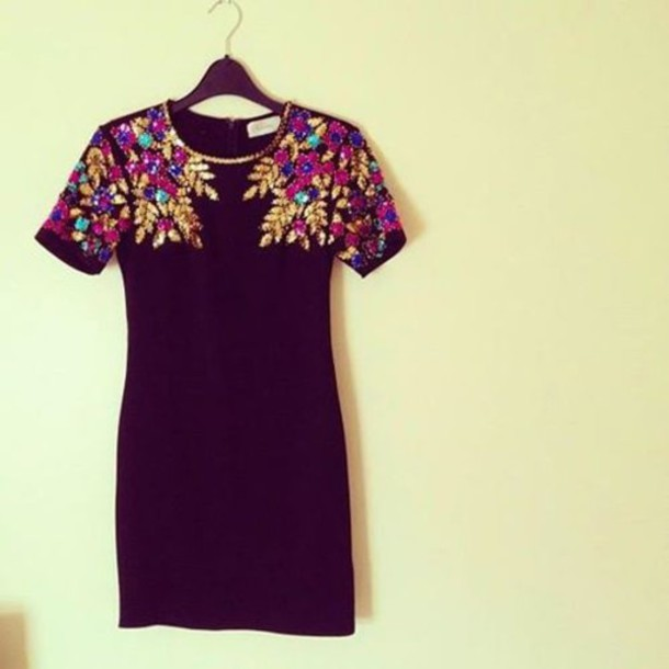 dress little black dress black black dress gemstone gold pink blue shift dress