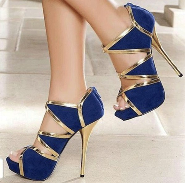 Shoes Heels Blue Heels Gold Heels Strappy Strappy