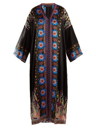 dress satin dress floral print silk satin black