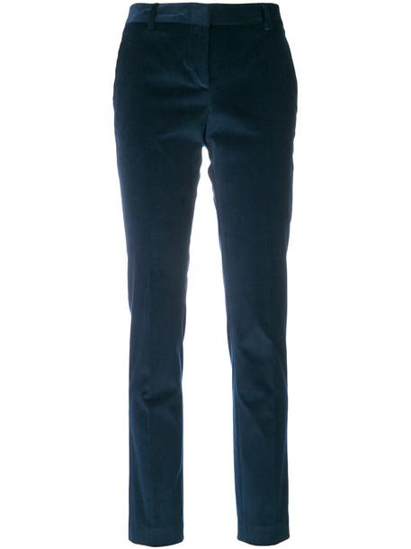 Tonello - classic velvet trousers - women - Cotton/Spandex/Elastane/Cupro - 46, Blue, Cotton/Spandex/Elastane/Cupro