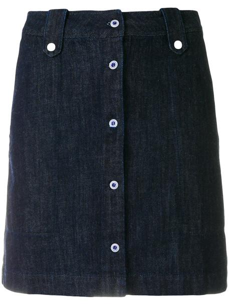 maison kitsune skirt mini skirt mini women cotton blue