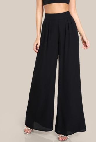 pants girly black high waisted flare flare pants wide-leg pants