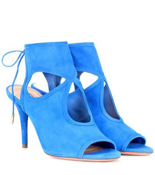 Aquazzura sexy sandals suede blue shoes