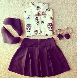 blouse top skirt fashion style trendy skull collar black and white cool shirt white blouse skully skull blouse shoes jewels