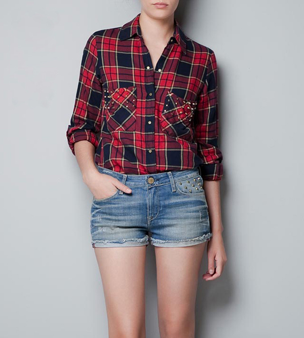 Fashion plaids checks flannel womens lady button down casual shirts tops blouses