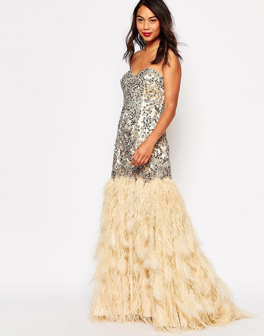 enjoy cheap price top fashion cheaper Forever Unique Sarah Maxi Dress with Feathered Skirt at asos.com