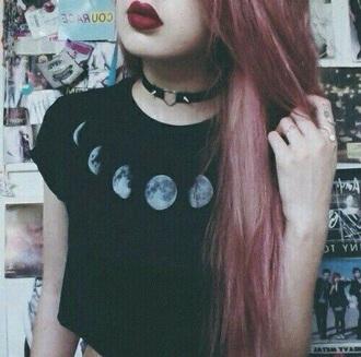 shirt moon tumblr black shirt pretty