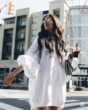 dress,tumblr,sweatshirt dress,white dress,long sleeves,long sleeve dress,bag,handbag,sunglasses