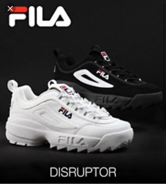 shoes fila fila sneakers white red blue fila disruptor