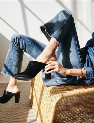 shoes high heels slip on shoes punk 90s style jeans 70s style mules frayed denim black shoes flare jeans flare cropped jeans cropped jeans kick flare kick flare jeans cropped bootcut jeans cropped bootcut blue jeans