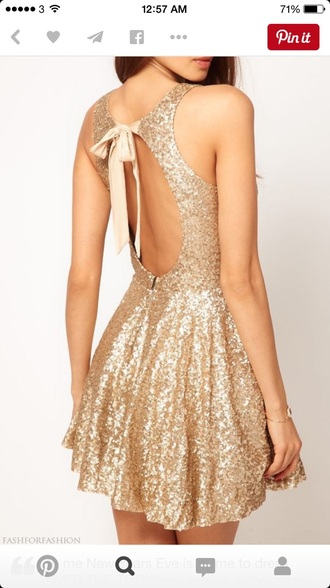 dress gold sequin glitter dress cute simple