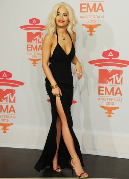 dress little black dress black maxi dress trendy fashion mtv music follow my tumblr sexy rita ora black prom dress shoes