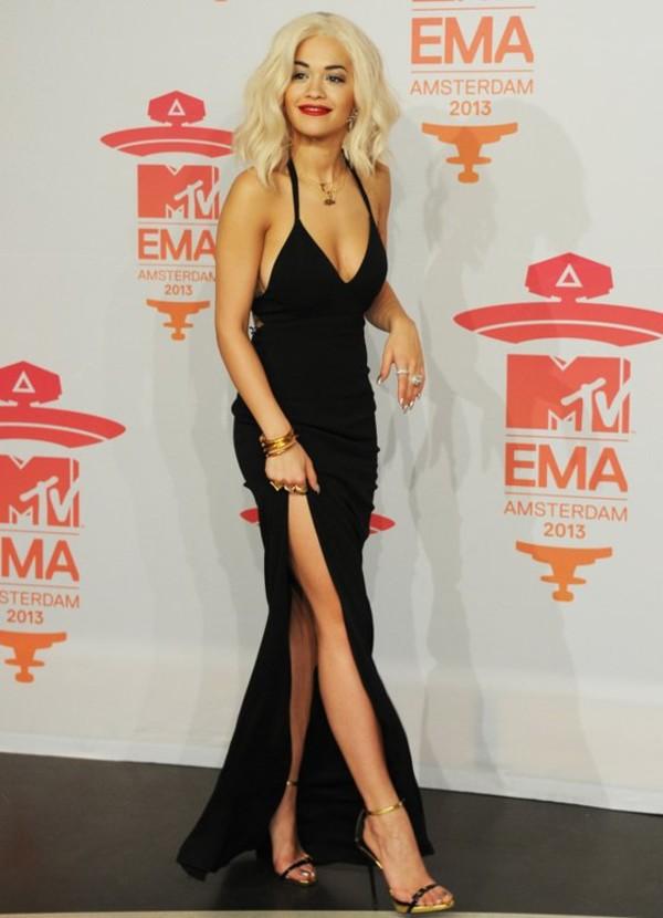 dress black dress trendy fashion mtv music follow my tumblr sexy rita ora black prom dress black maxi dress shoes