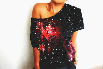 black t-shirt top black tank top t-shirt red tank top galaxy print shirt off the shoulder oversized red stars