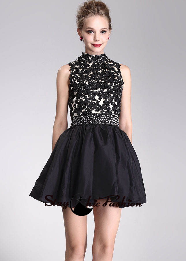 Black Floral Lace Applique Top High Neck Sequined Waist Short Prom Dress [SC-05] - $173.00 : Prom Dresses On Sale, Semi-formal Dresses Online|StaychicDresses