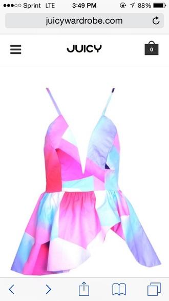 blouse backless floral floral tank top asymmetrical asymmetrical dress blue pink purple white tank top spaghetti strap