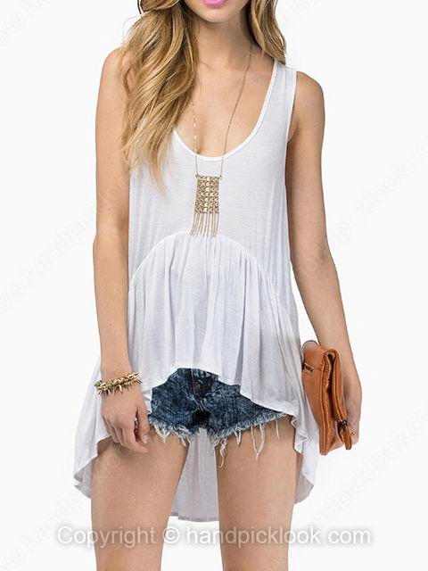 White tank sleeveless ruffles dipped hem vest