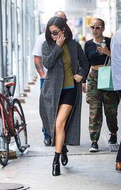 sunglasses,streetstyle,nyfw 2017,ny fashion week 2017,ankle boots,fall outfits,coat,sweater,mini dress,selena gomez