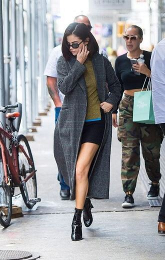 sunglasses streetstyle nyfw 2017 ny fashion week 2017 ankle boots fall outfits coat sweater mini dress selena gomez