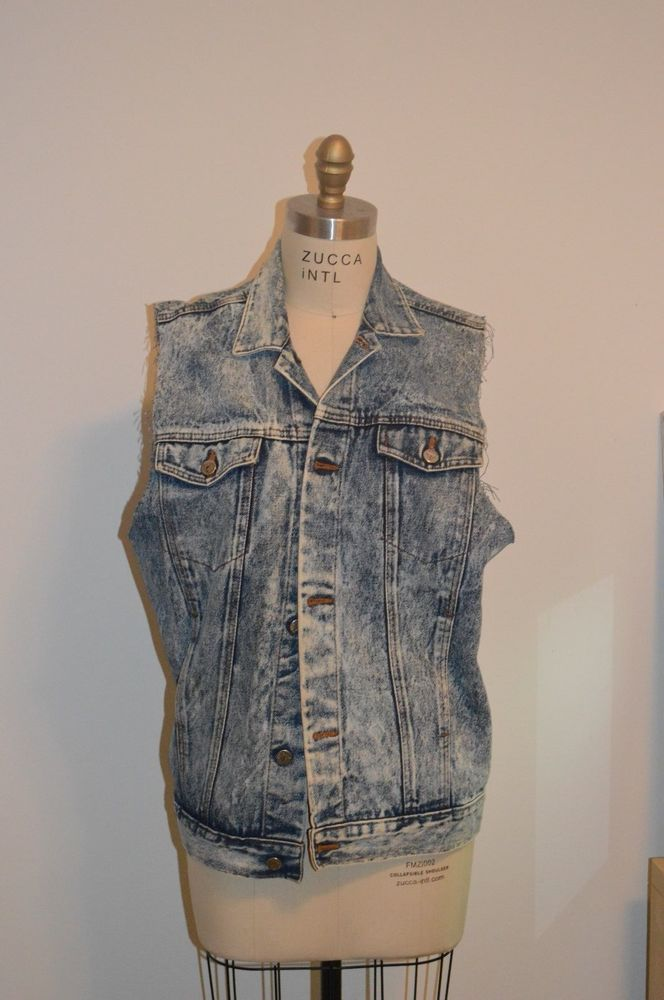 Vintage acid wash denim vest