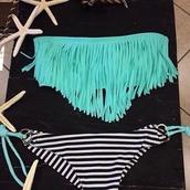 swimwear,teal,stripes,fringes,blue,strapless,bikini,summer,swimming,turquoise,light blue,torquise