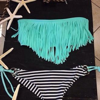 swimwear teal stripes fringes blue strapless bikini summer swimming turquoise light blue torquise