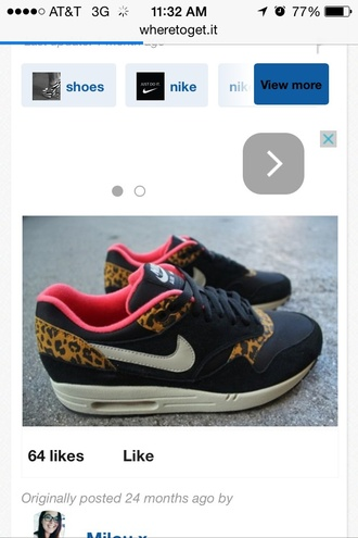 shoes black pink nike leopard print sneakers air max