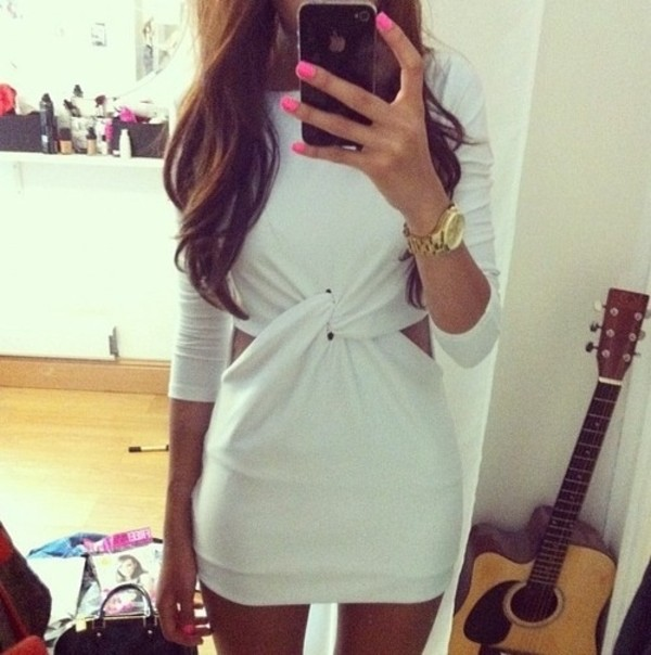 dress white twist cutout three-quarter sleeves watch gold