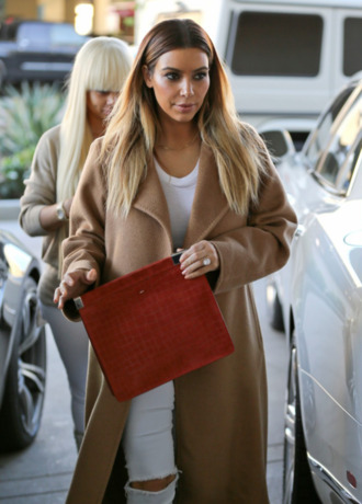jeans kim kardashian white jeans ripped jeans kardashians beautiful automn winter outfits spring outfits camel coat camel coat