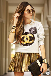 skirt,gold,bag,sweater,hoodie,glasses,bracelets,copper,mickey mouse,white sweater,chanel,white and black sweater,gold sparkle,disney,minnie mouse,ears,shirt,sweatshirt,jewels,sequins,mickeymouse chanel sequins,black,white,mickey mouse sweater