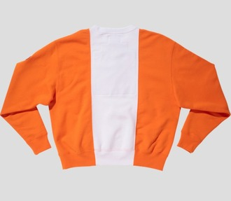 sweater colorblock stripes orange white crewneck crewneck sweatshirt