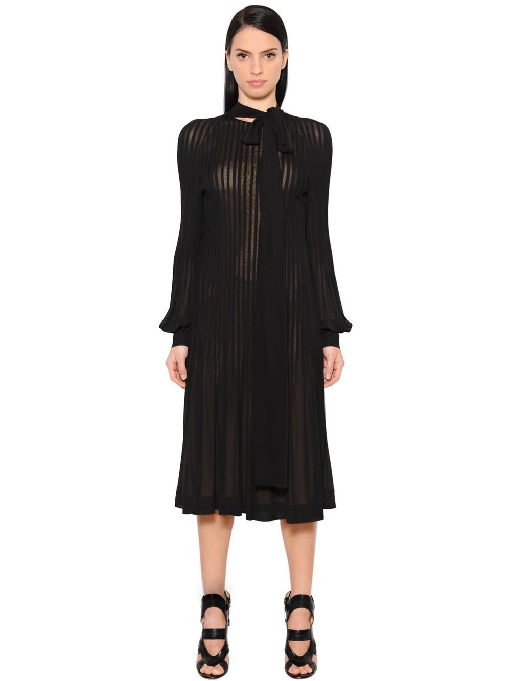 ANTONIO BERARDI Pleated Crepe Jersey Midi Dress in black