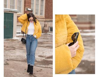 adventures in fashion blogger jacket socks shoes sunglasses jeans bag jewels faux fur jacket yellow jacket ankle boots winter outfits