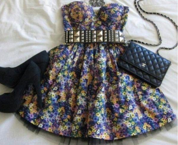 dress floral desperate cute pretty heels studded belt bag gah bralette floral dress mini dress hat