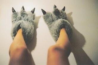 shoes slippers dino dragon fluffy grey black dinosaur pajamas