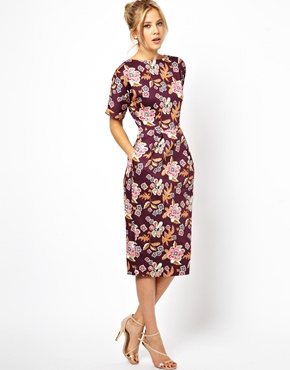 ASOS | ASOS Wiggle Dress In Floral Print at ASOS