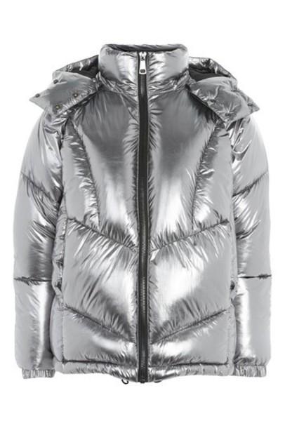 Topshop jacket puffer jacket metallic silver