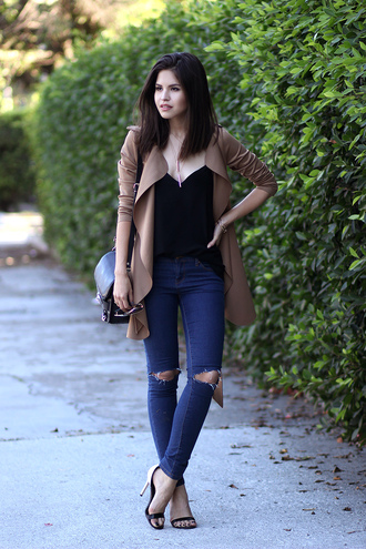 fake leather jeans shoes bag jewels sunglasses tank top coat