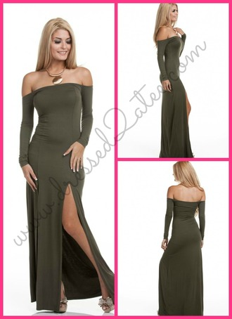 dress long off the shoulder sexy maxi dress maxi olive green fall outfits fall long dress long sleeve dress style girly cute girl instagram elegant tumblr tumblr outfit tumblr girl clothes fashion
